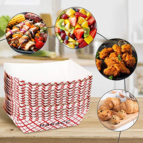 HAKACC Kraft Paper Food Tray, 50 PCS Paper Food Serving Trays Disposable Food Trays for Lunch Fast Food Snack