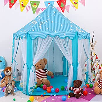 Springbuds Kids Blue Princess/Prince Castle Play Tent Large Children Playhouse for Boys u0026  sc 1 st  Amazon.com & Amazon.com: Children Play Tent - Premium Space Castle Pop Up Kids ...