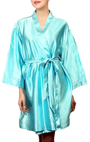 c74700c30 XQS Women s Pure Color Satin Silky Bathrobe Sleepwear Nightgown Pajama 1  OneSize at Amazon Women s Clothing store