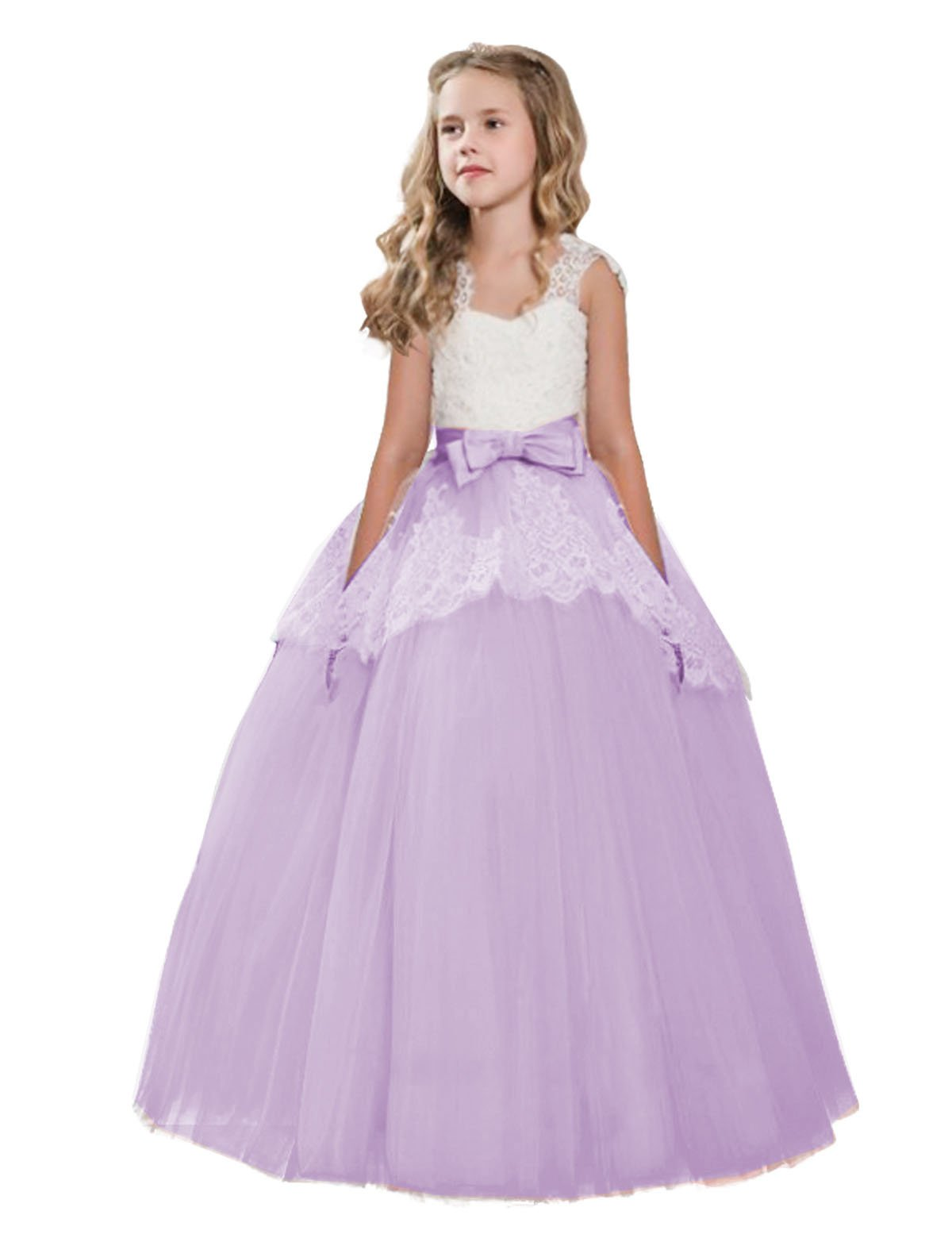 NNJXD Summer Lace Tulle Flower Girl Wedding Birthday Party Princess Long Dresses Ball Gown Size (170) 13-14 Years Purple
