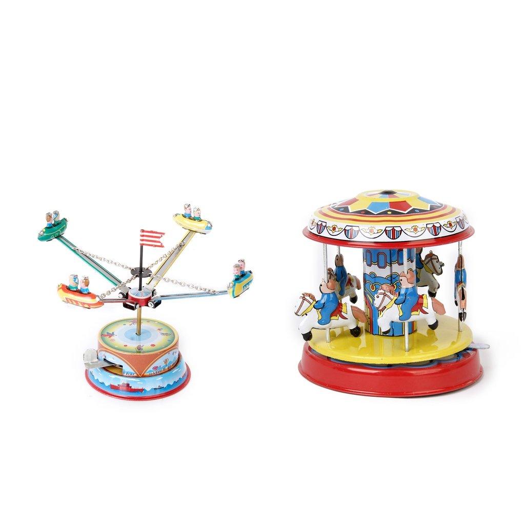 Baoblaze Vintage Clockwork Carousel+Rotating Spacecraft Wind Up Toys for Kids Gift
