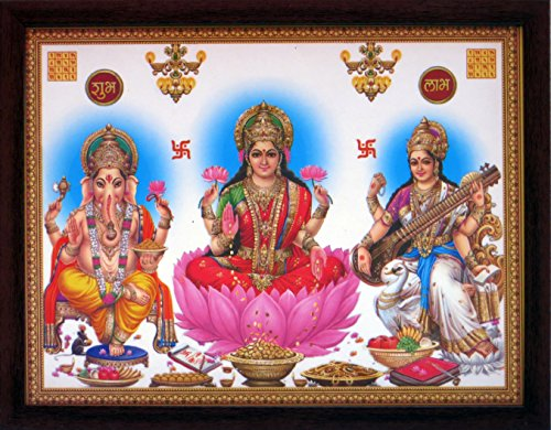 Lakshmi Ganesha and Saraswati with Shubh Labh, Poster Print with Frame Must for Every Home and Office for Auspicious and Good Luck. ()