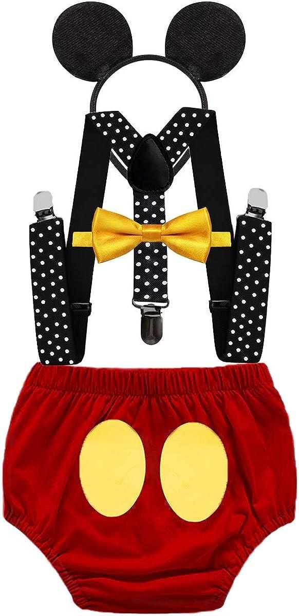 IZKIZF Baby 1st Birthday Cake Smash Cartoon Costume Photo Props 4Pcs Outfits Diaper Cover Suspender Bowtie Headband