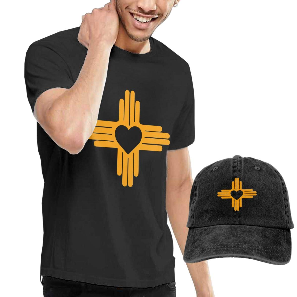 New Mexico State Flag Adult Mens Summertime T Shirt and Fishing Jean Hat WWTBBJ-B Zia with Heart Symbol