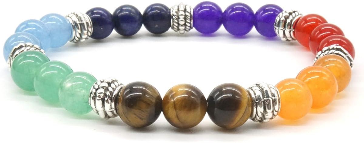 Pulsera de piedras semipreciosas de los 7 chacras para meditación, ajustable, redonda, de piedras de curación
