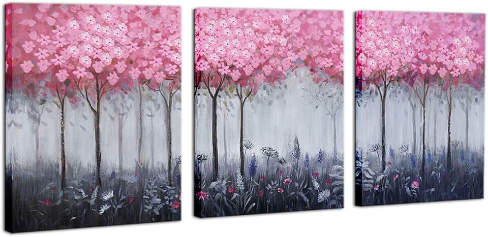 Pink Flower Canvas Wall Art for Girls Bedroom Modern Framed Wall Decoration Abstract 3 Pieces Pink Grey Forest Theme Prints Wall Decor for Girls Room Bathroom Home Decor Each Panel 12x16 Easy to Hang