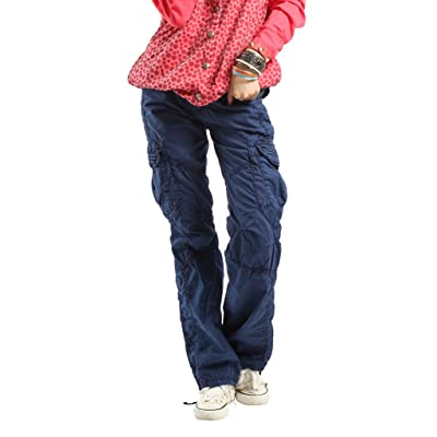779a5d77d6 Women s Casual Cargo Pants Solid Military Army Styles Cotton Trousers Blue  XS