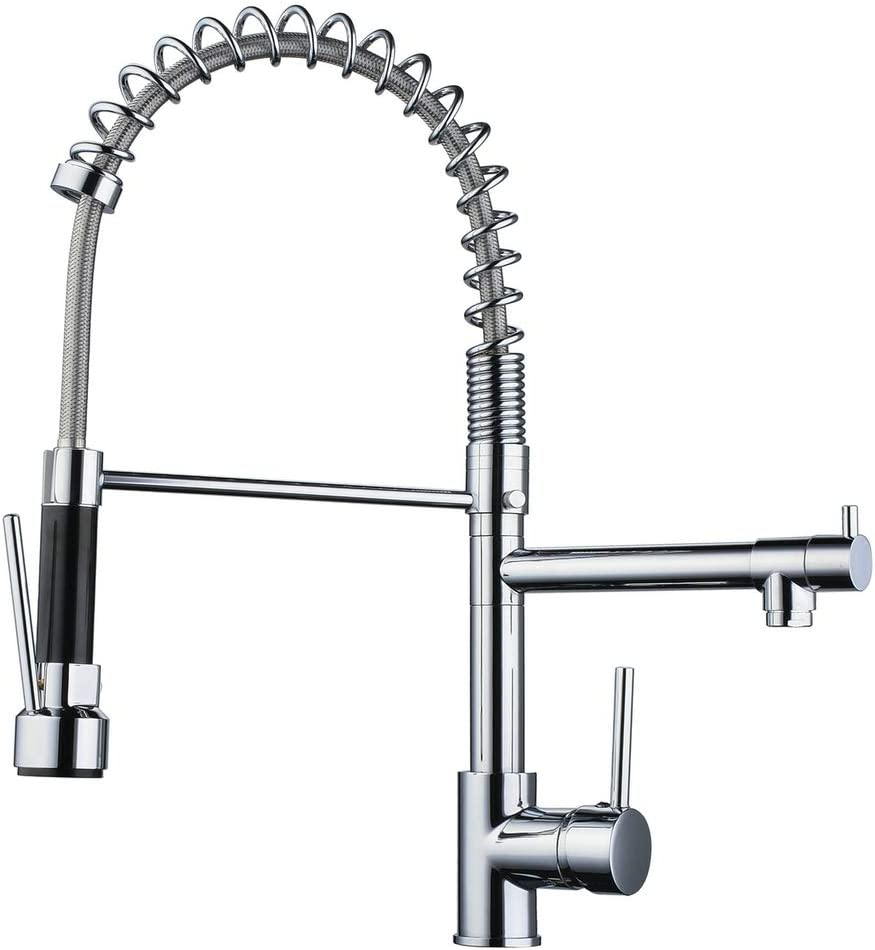 Commercial Kitchen Faucet With 360 Swivel High Arch Pull Down Sprayer Spring Two Spout Outlet Kitchen Sink Faucet Polished Chrome Beelee Bl0783s Amazon Com
