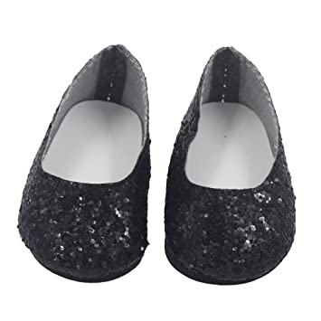 b418c74cc2bc Prevently New Cute Glitter Doll Shoes Dress Shoe For 18 Inch Our Generation American  Girl Doll Accessories (Black): Amazon.co.uk: Toys & Games