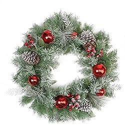 "Northlight Flocked Pine, Red Ball, Berries & Silver Cedar Artificial Christmas Wreath-Unlit, 24"", Green/Silver"
