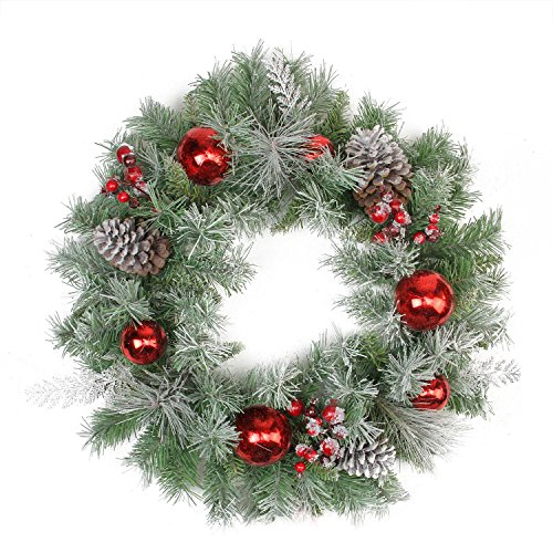 Northlight Flocked Pine, Red Ball, Berries & Silver Cedar Artificial Christmas Wreath-Unlit, 24