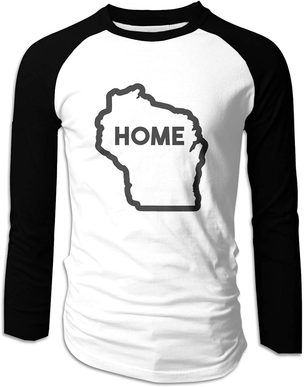PLICQG Wisconsin is My Home Mens T-Shirts Casual T-Shirts Active Shirt