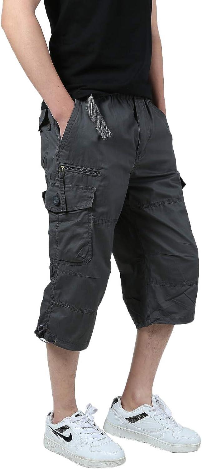 JYG Mens Twill Elastic Cargo Shorts Below Knee 3//4 Capri Pants with Belt