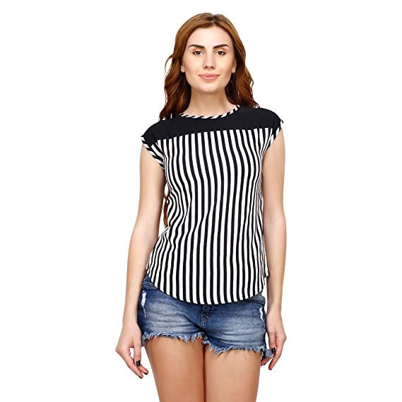 eee474bf37105 stylesland contrasting black and white striped sleeveless top  Amazon.in   Clothing   Accessories