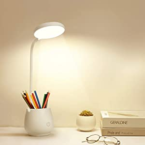 Desk Lamps for Home Office,LED Desk Light with Pen Holder Phone Holder,3 Color Light Modes,Eye-Caring Reading Night Light for Students Kids,Table Lamps with USB Charging Port