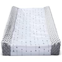 Wipeable Baby Diaper Changing Pad Cover Grey White with Plush Sides Arrows