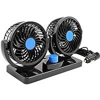 AboveTEK 12V DC Electric Car Fan - 2 Speed Fans 12 Volt Cigarette Lighter Socket - Quiet Strong Dashboard Cooling Fan…