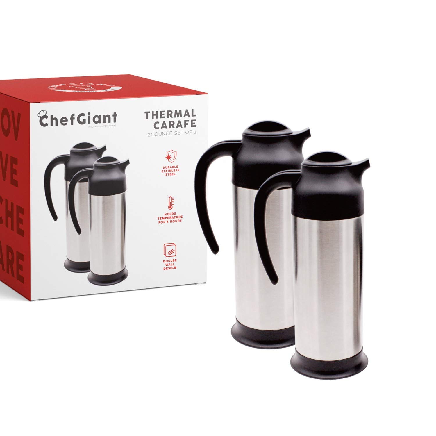 24 OZ STAINLESS STEEL THERMAL HOT-COLD CARAFE / DOUBLE WALLED THERMOS / UP TO 10 HOURS HEAT RETENTION (SET OF 2)