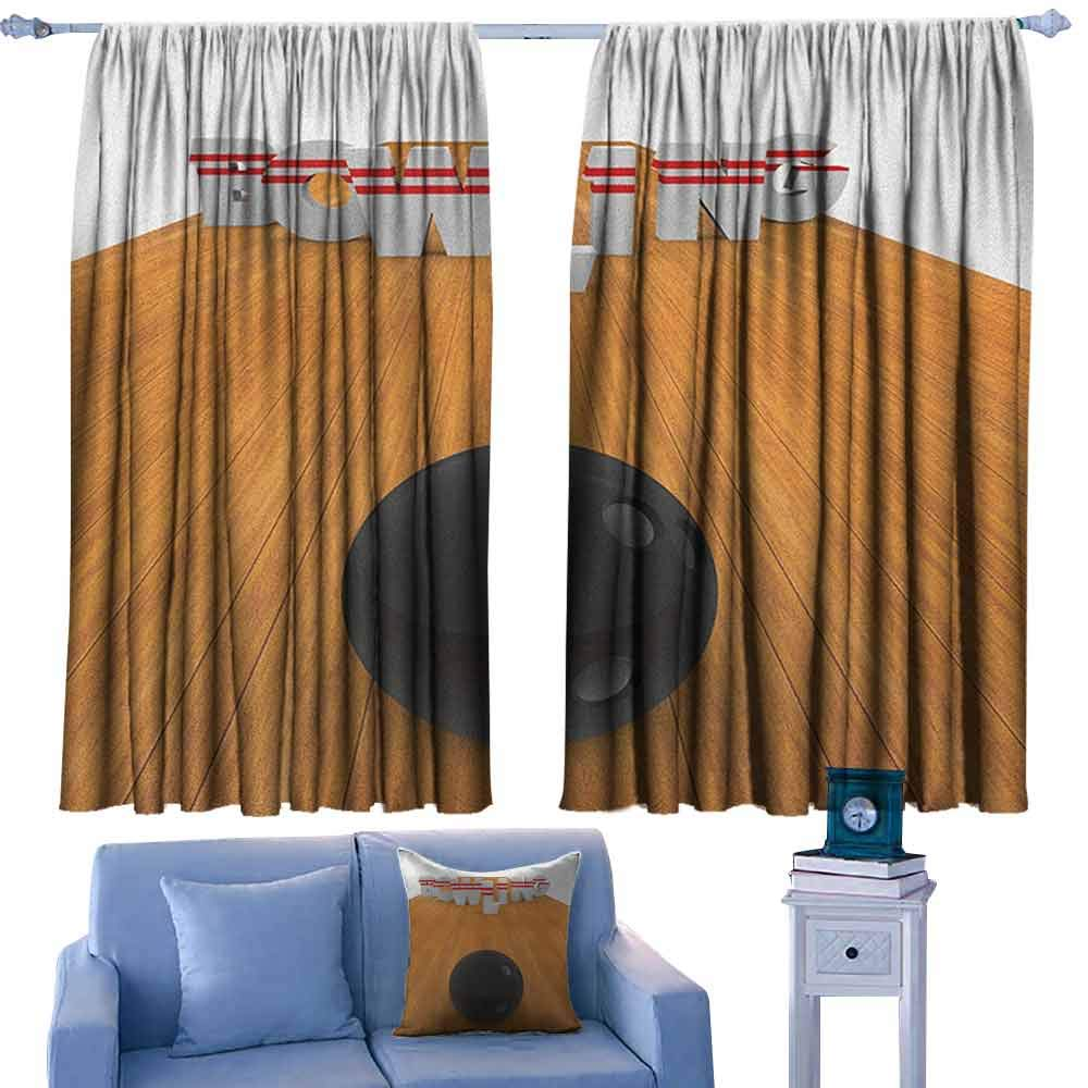 ParadiseDecor Bowling Party Kid's Customized Curtains Bowling Alley with Skittles and Ball in Position Hobby Print,Print Drapes for Living Room,W42 x L54 Inch by ParadiseDecor