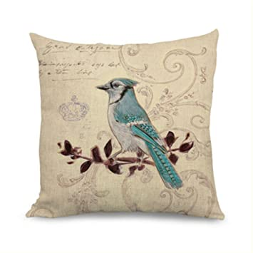 Damuyas Vintage Blue Bird Crown Home Decor Linen Cushion Cover Throw Pillow Case Blue