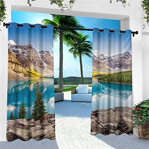 Furniture Mountain Rocky Patio - leinuoyi Landscape, Outdoor Curtain Modern, Idyllic View of Moraine Lake at Sunset in Canadian Rocky Mountain Range Picture, for Patio Furniture W72 x L108 Inch Multicolor