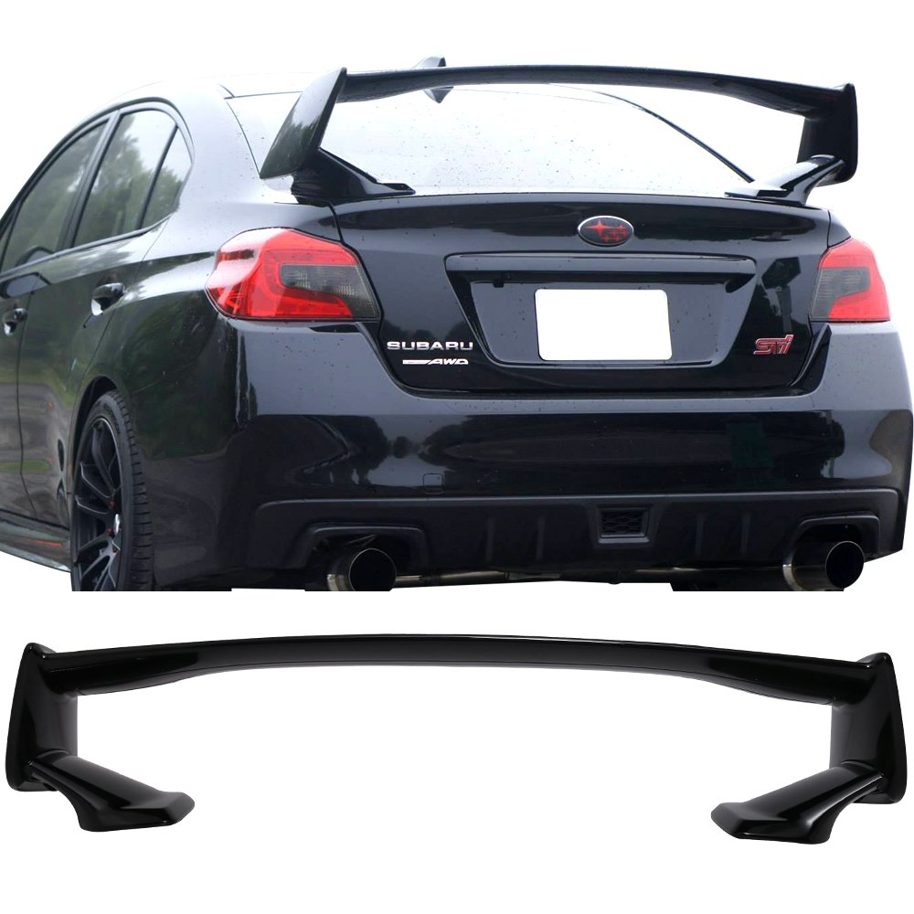 Pre-painted Trunk Spoiler Fits 2015-2018 Subaru WRX STI | STI Style ABS #D4S Crystal Black Silica Pearl Trunk Boot Lip Spoiler Wing Deck Lid Other Color Available By IKON MOTORSPORTS | 2016 2017