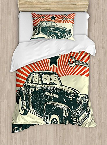 Fantasy Star Twin XL Extra Long Bedding Set,Cars Duvet Cover Set,Retro Car and Garage Advertising Poster Style Picture with Grunge Effects 1960s,Include 1 Flat Sheet 1 Duvet Cover and 2 Pillow Cases