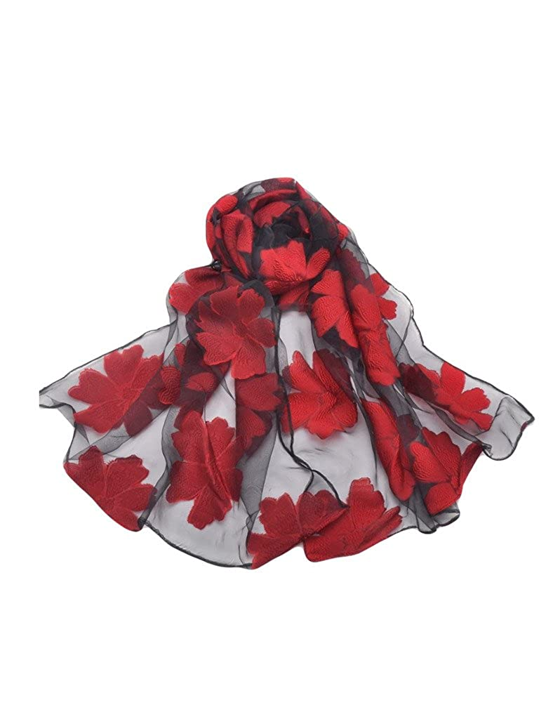 54a5d52510f Letuwj Femme Foulard tissu transparent de dessin fleur ou feuille  LTUWWJ0227-2