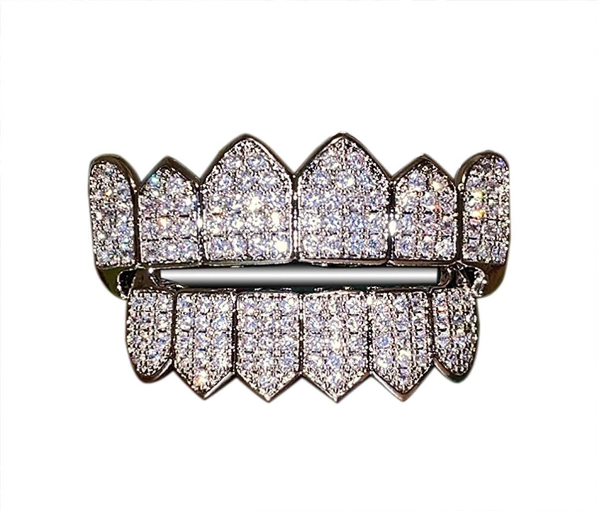 Shop-iGold Joker White Gold Grillz Finish for Mouth Top Bottom Hip Hop Teeth Grills for Mouth Grillz for Mouth Top Bottom Hip Hop 6 Grills for Teeth Mouth Set - Teeth Cap, Iced Grillz