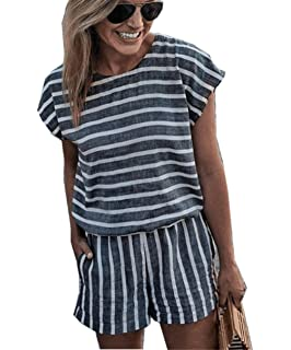 843c24939b79 Asskdan Women s Summer Striped Jumpsuit Playsuit Casual Loose Short Sleeve  Jumpsuit Rompers
