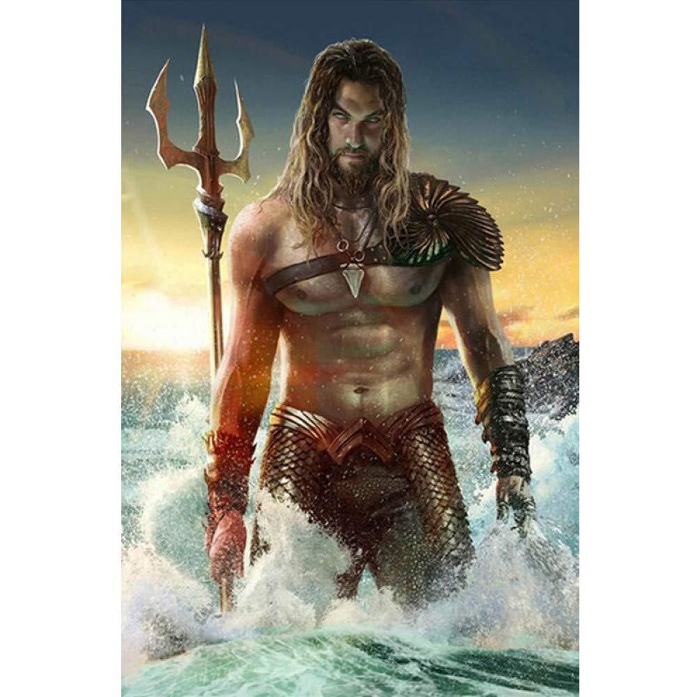 CNAIO DIY 3D Diamond Embroidery,Cross Stitch,Superhero''King of The Sea:Aquaman'',Full Round Diamond Painting New Arrivals Decor-50x70cm