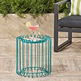 Great Deal Furniture Pony Outdoor 16 Inch Matte Teal Finish Metal Side Table