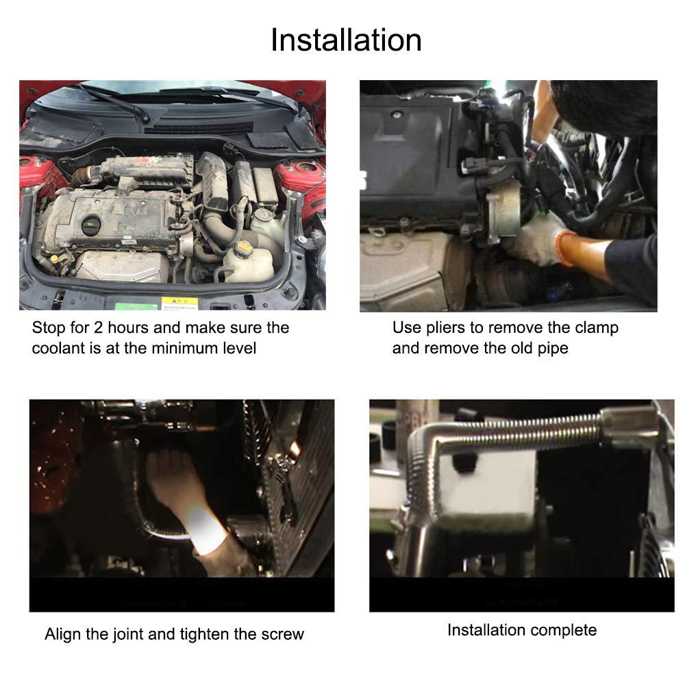 Radiator Hose Kit Flexible Upper//Lower Radiator Hose Kit /& Stainless Steel Flexible Pipe