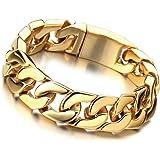 Bracelet Gourmette en Or - Acier Inoxydable Bracelet Homme - Poli Mirro - Meilleure Qualité