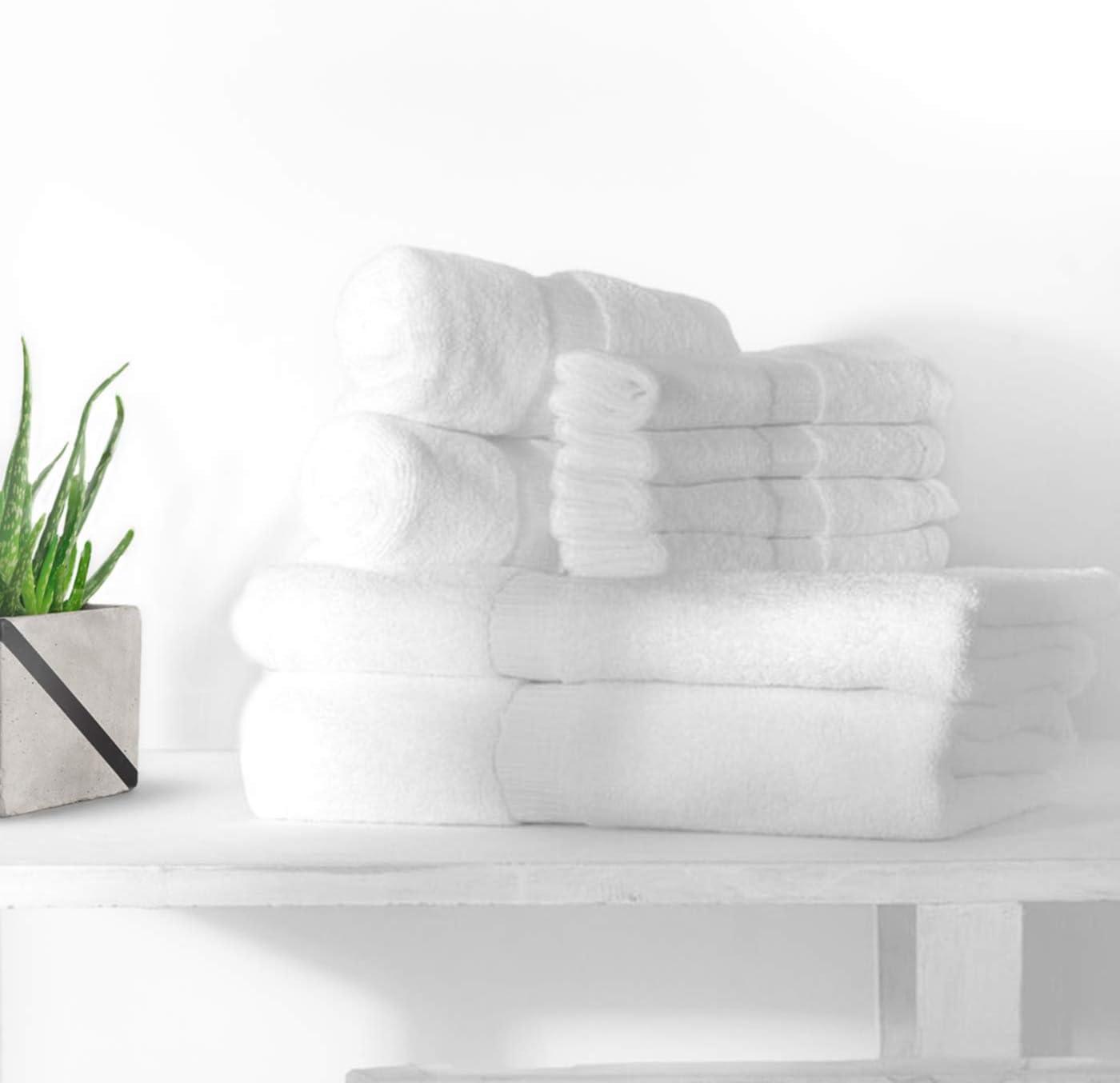 White Spindle Plush 6-Pieces Cotton Towel Sets