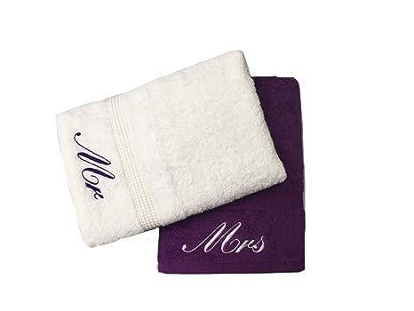 Bordado Mr & Mrs morado y blanco toallas de baño de par