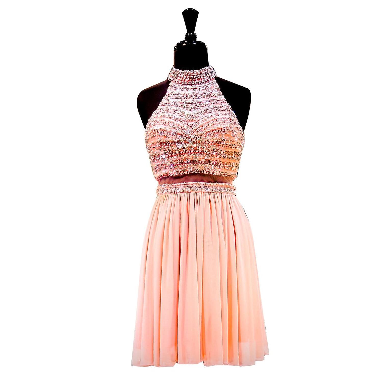 NINI.LADY Women's Halter Zipper Back Beading Chiffon Short Prom Homecoming Dress