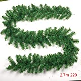 Christmas Tree Pine Branches Rattan, Plain Green Garland Decorations Undecorated Xmas Green Pine Garland Christmas Ornaments Party Home Decorations (2.7m,220T)