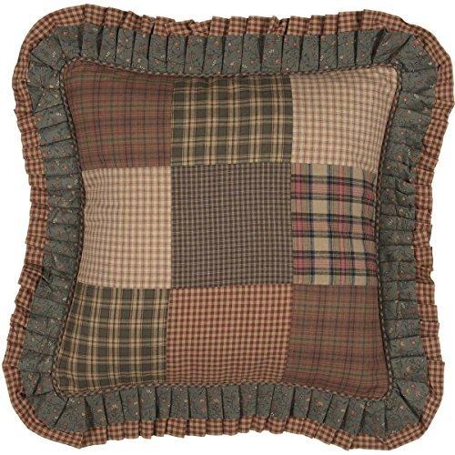 VHC Brands Primitive Bedding Cinnamon Plaid Cotton Patchwork Square Cover Insert Pillow Dark Olive Green [並行輸入品] B07RDX2P84