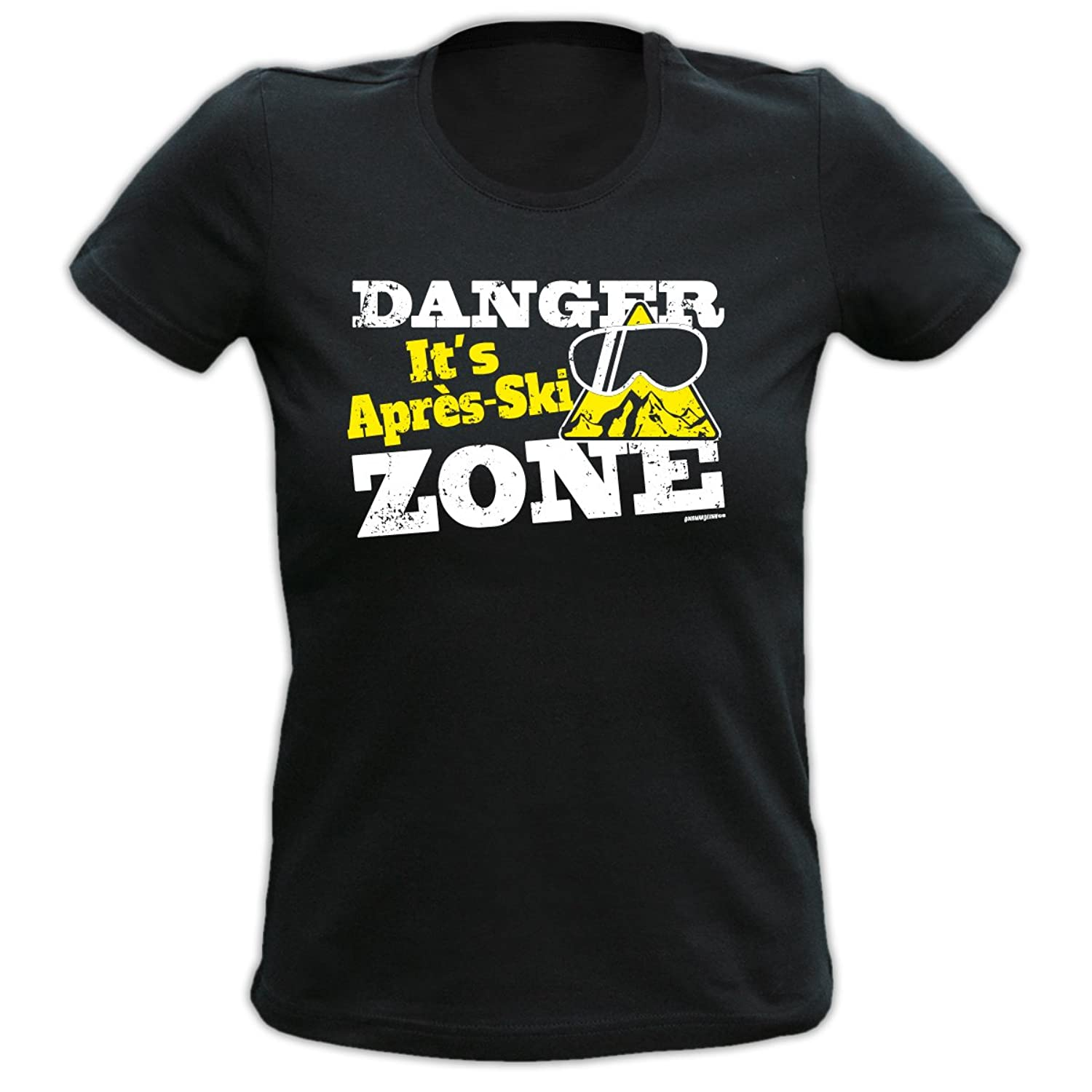 Mega Cooles Apres-Ski Girlie Shirt / Skipistenparty - Danger it's Apres-Ski Zone /Goodman Design Gr: Farbe: schwarz