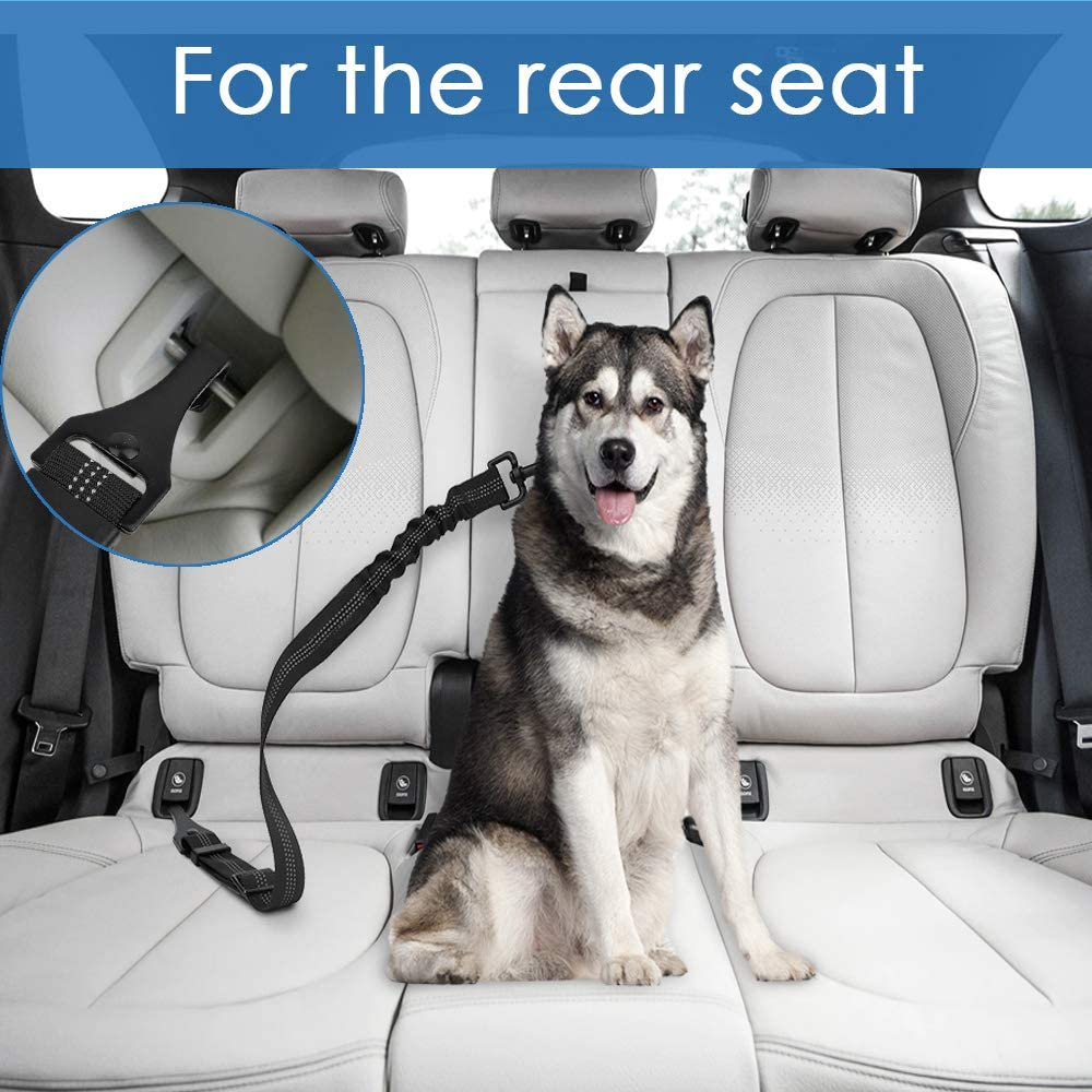 2 Packs Latch Bar Attachment Dog Car Seatbelt Metal Buckle Vehicle Seatbelt for Small Medium Large Dogs Elastic Safety Belt Tether for Dog Harness Adjustable Pet Safety Leads AutoWT Dog Seat Belt
