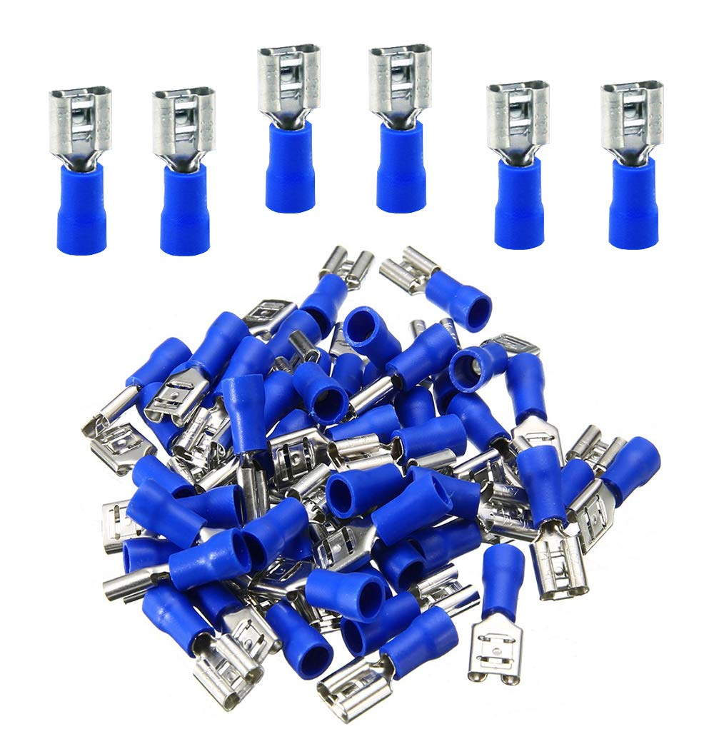 100pcs Blue Insulated Female Spade Wire Crimp Terminals Connectors 14-16AWG
