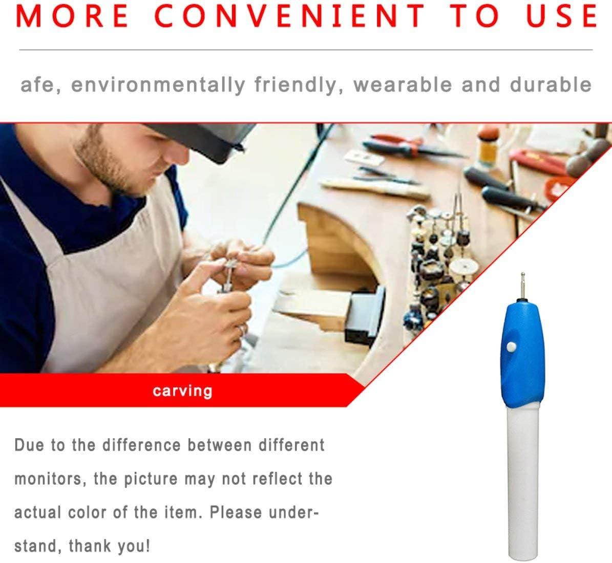 Diy Schnurloser Mini-Elektrogravurstift Schnitzwerkzeug f/ür Schmuck Kunststoff Metall Holz Glas Automatischer Gravurstift blau + wei/ß Sunnyflowk 1 Stk