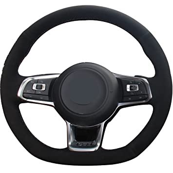Black Genuine Leather Steering Wheel Cover for 2015 2017 Volkswagen VW Jetta GLI / 2015-