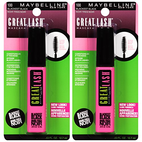 Maybelline New York Great Lash Washable Mascara Makeup, Blackest Black, 2 ()