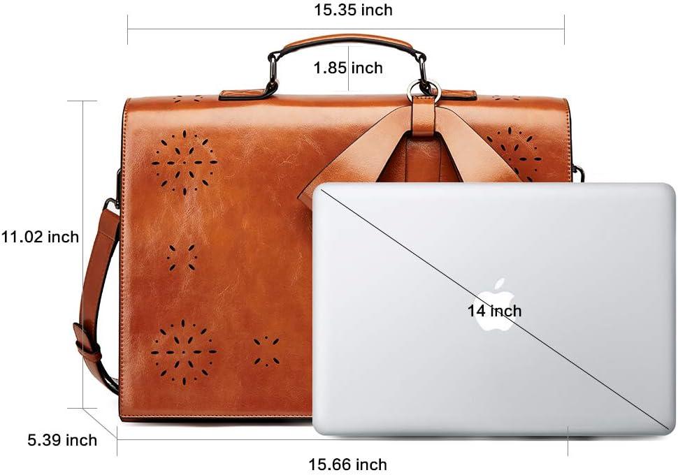 Damen Aktentasche /Ölwaches Leder Laptoptasche 14 Zoll Gro/ß Kapazit/ät Frauen Arbeitstasche Vintage Rei/ßetasche Braun