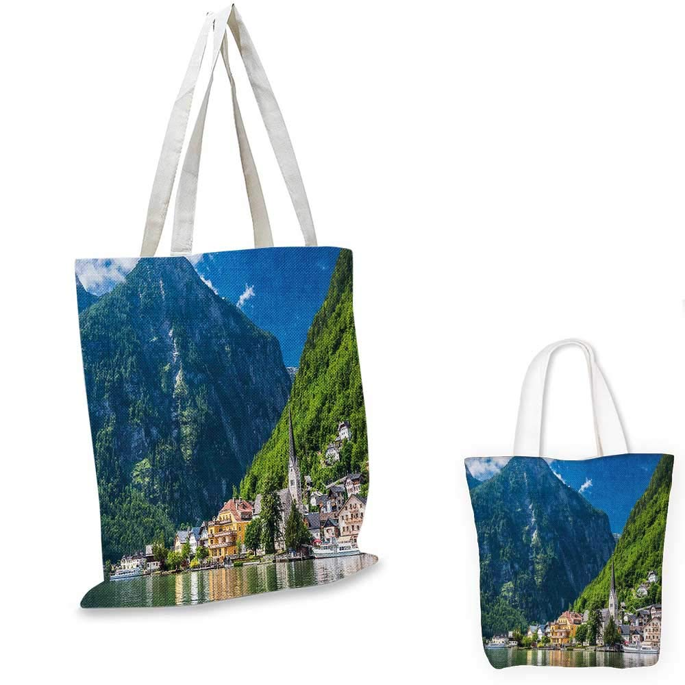 Landscape canvas messenger bag Natural View of Hallstatt in Austria Mountains Forest Town Houses Clear Sky canvas beach bag Green Blue White 12x15-10