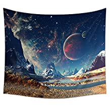 Uphome Planet with Earth Moon and Mountains Wall Tapestry Hanging – Light-weight Polyester Fabric Wall Decor (51''H x60''W)