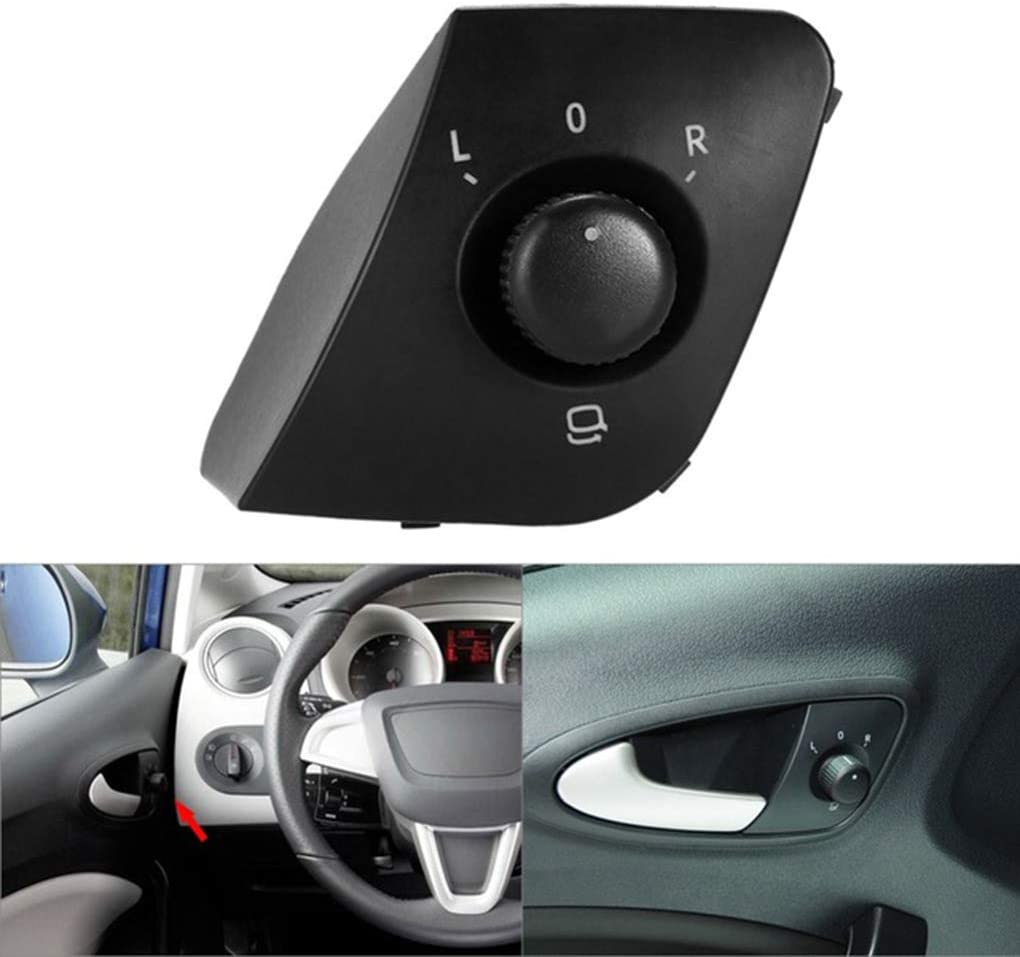 Idyandyans Exterior Side Mirror Adjust Switch Knob Button Replacement For Ibiza 2009-2015 6J1959565 Black