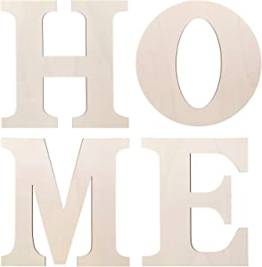 4 Pieces 12 Inch Unfinished Wooden Large Home Letters Wall Hanging Wood Home Sign for Home Wall Decoration Living Room